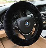 ANDALUS Car Steering Wheel Cover, Fluffy Pure Australia Sheepskin...