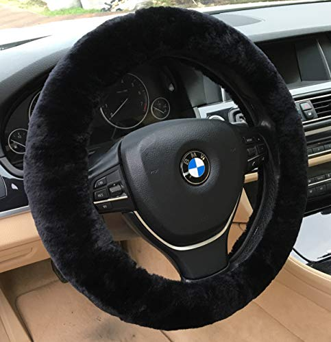 ANDALUS Car Steering Wheel Cover, Fluffy Pure Australia Sheepskin Wool, Universal 15 inch (Black)