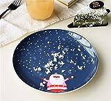 SD&EY Placa de cerámica de Navidad Dibujos Animados Pintado a Mano Placa de Cena de Fruta Plato de Fruta China Placa de Cena Occidental del año Nuevo Regalo,E