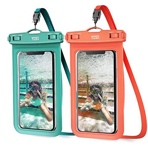 YOSH 2021 6.8'' Funda Impermeable Móvil IPX8 Universal 2 Unidades, Bolsa para Móvil Estanca a Prueba de Agua para iPhone 12 Pro 11 XR XS X 8 7 Samsung S20 A70 A50 Xiaomi MI 9T Huawei (Verde & Naranja)