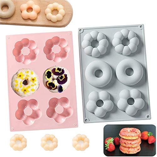Kewayer Premium Sanft Silikon Donut Formen, Muffins Backblechform, Grau/Rosa, 6 Tassen, 2 Stück