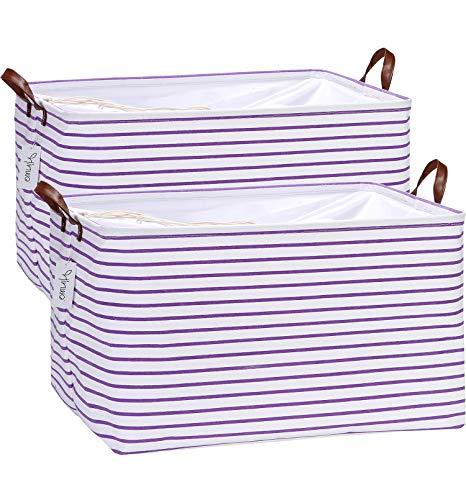 Hinwo Paquete de 2 cestas de almacenamiento de tela de lona extra grandes con asas, contenedores de almacenamiento de 70 litros, caja...