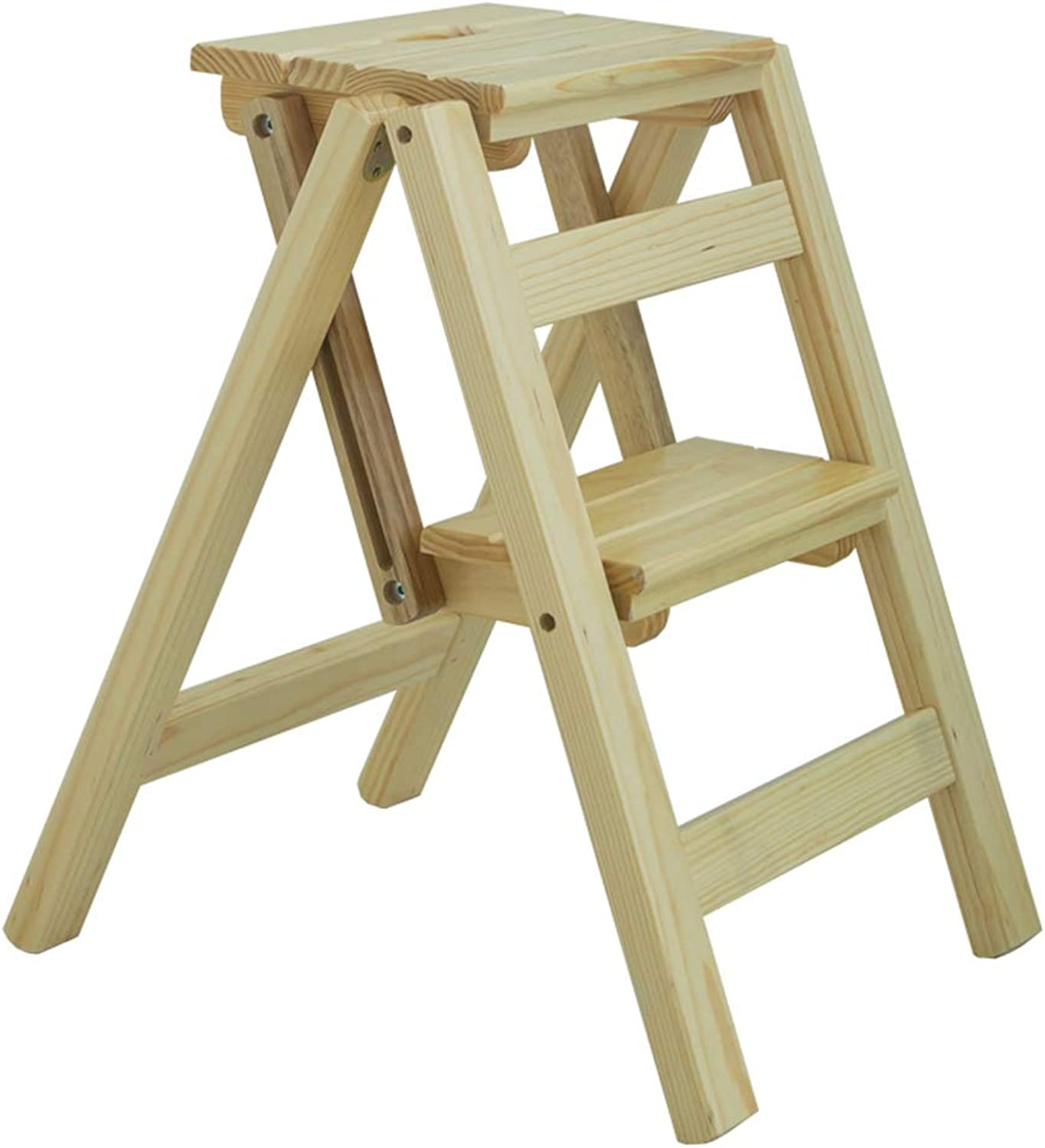 ZENGAI Folding Stool Ladder Household Multifunction Insulation Two Step Ladder Flower Stand Anti-Corrosion, Solid Wood (color   A, Size   38x46x50cm)