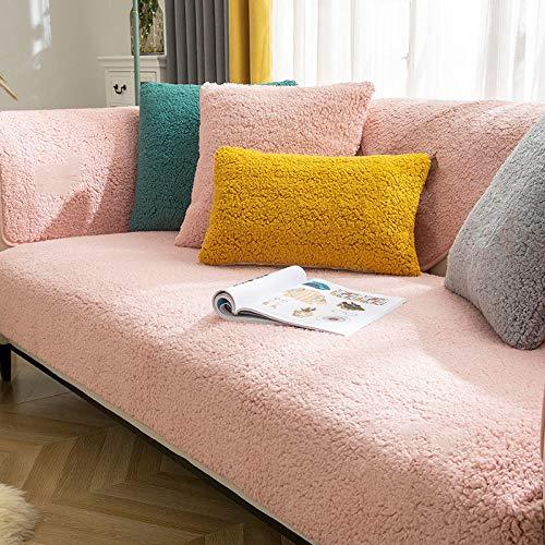 B/H Tejido Poliéster Poliéster Sofa Cubre,Cojín de sofá de Lana de Cordero, Funda de sofá de Felpa Gruesa-Pink_70 * 70cm,poliéster y Elastano Funda sofá