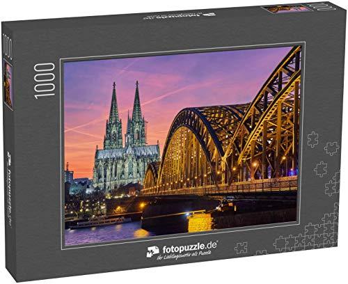Puzzle 1000 Teile Kölner Dom und Hohenzollernbrücke bei Sonnenuntergang / Nacht - Klassische Puzzle, 1000 / 200 / 2000 Teile, edle Motiv-Schachtel, Fotopuzzle-Kollektion 'Staedte'