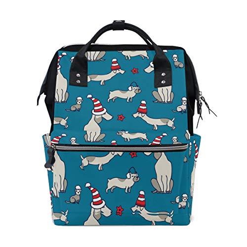 Wickeltasche mit Dackel-Motiv, mit Weihnachtsmütze, große Kapazität, Multifunktions-Rucksack für Reisen