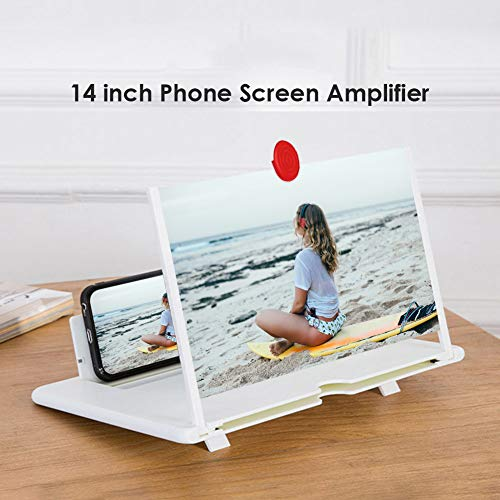 DAXGD Amplificatore dello Schermo per Telefono, Lente d Ingrandimento dello Schermo del Telefono Cellulare 3D da 14 Pollici, Amplificatore Video HD con Supporto Pieghevole
