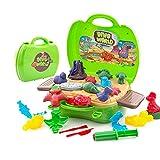 Deardeer Kinder Spielknete Dinosaurier Spielset 26-teilig Pretend Play Toy Kit mit Spielknete und...