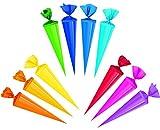 Unbekannt 10 Stück: Schultüten - einfarbig - FARBMISCHUNG - 35 cm - Zuckertüte / Bastelschultüte - Rohling zum Basteln, Dekorieren - Bemalen und Bekleben Bastelschultüt