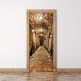 WYTTT DIY 3D Wall Sticker Mural Home Decor Oak Barrels in Wine Cellar Art Removable Door Sticker decole 77x200 cm Door Sticker