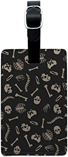 Skeleton Skull Bones Rib Cage and Femur Rectangle Leather Luggage Card ID Tag