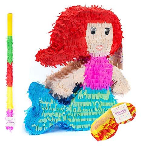 Trendario Meerjungfrau Pinata Set, Pinjatta + Stab + Augenmaske, Ideal zum Befüllen mit Süßigkeiten und Geschenken - Piñata für Kindergeburtstag Spiel, Geschenkidee, Party, Hochzeit