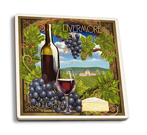 Lantern Press Livermore, California - Pinot Noir (Set of 4 Ceramic Coasters - Cork-Backed, Absorbent)