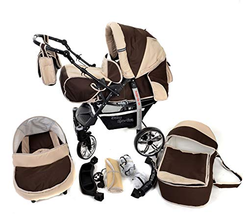 Sportive X2, 3-in-1 Travel System incl. Baby Pram with Swivel Wheels, Car Seat, Pushchair & Accessories (3-in-1 Travel System, Brown & Beige)