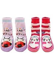 Beetest 2 Pares Lindo algodón Engrosamiento bebé niños Chicos Chicas Calcetines Zapatos Botas Zapatillas Piso 15cm Suela (Conjunto A Talla L)