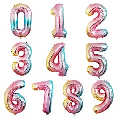 Amosfun 10pcs Ballons Baudruche Ballon Aluminium Chiffre 0-9 Ballon Fête Anniversaire Mariage Décoration Accessoires Photo 32 Pouces