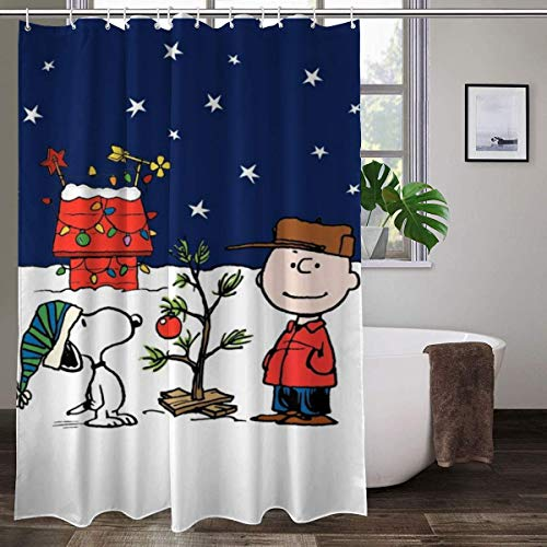 WOMFUI Merry Christmas Snoopy & Charlie Brown Shower Curtain Keep Warm Bath Curtain for Home, 60'x 70'