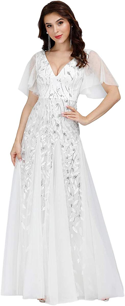 Ever-Pretty Women's V-Neck Embroidery Short Sleeve Wedding Party Evening Dress 0734
