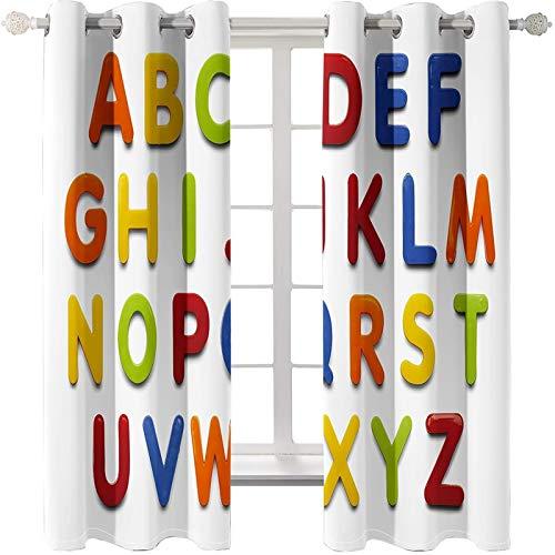 AmDxD 2 paneles de cortina de poliéster opaco, cortinas para ventanas dormitorio con 26 letras del alfabeto, se puede lavar a máquina, blanco rojo, 250 cm de ancho x 100 cm de largo