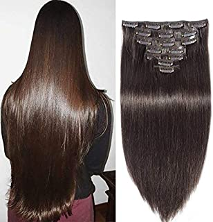 JISheng Clip In Human Hair Extensions 7pcs 16 Clips 160g Double Weft Brazilian Silky Straight Virgin Hair Dark Brown