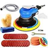 Air Random Orbital Sander, ZFE 5'6'Air Sander, Dual Action Pneumatic Sander with 24pcs Sanding Discs(#80#120#240#320),3 polishing pads 2Towels 1Glove 5 inch 6 Inch Pads&Polisher for Car,Metal