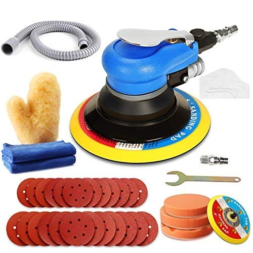 "Air Random Orbital Sander, ZFE 5""6""Air Sander, Dual Action Pneumatic Sander with 24pcs Sanding Discs(#80#120#240#320),3 polishing pads 2Towels 1Glove 5 inch 6 Inch Pads&Polisher for Car,Metal"