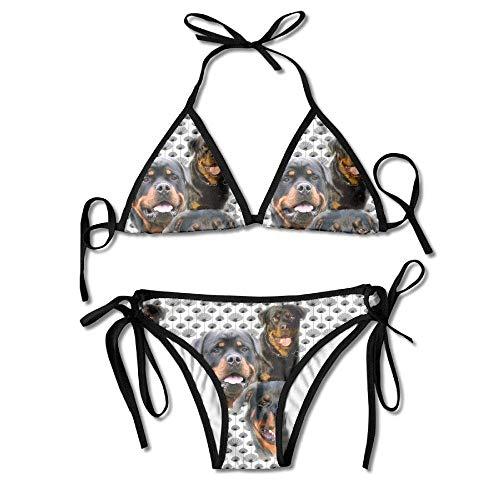 Zcfhike Rottweilers and Thistles Women Sexy Low Waist Bandage Bikini Beachwear Swimsuit