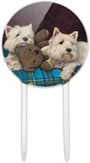 GRAPHICS & MORE Acrylic Westie West Highland White Terrier Dogs Teddy Bear Cake Topper Party Decoration for Wedding Anniversary Birthday Graduation