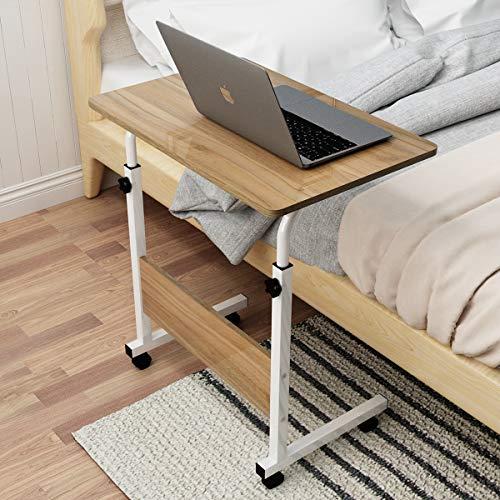 soges Laptoptisch Beistelltisch mit Rollen,höhenverstellbarer PC Tisch Notebook Sofatisch Laptopständer Notebookständer Pflegetisch für Bett und Sofa,60x40CM Schwarz 05#1-60OK