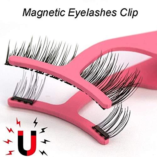Faux cils naturels faits à la main avec emballage personnalisé Cils d'aimant acrylique de boîte à outils de maquillage (Color : Red tweezer)