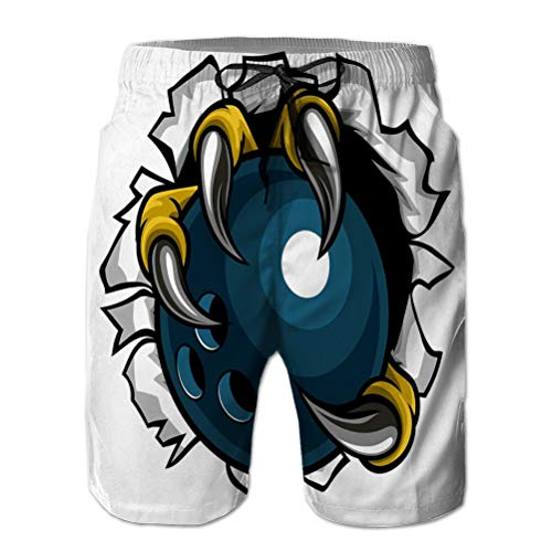 NA Beach Shorts Pants Swim Trunks with Pockets Man Bowling Ball Eagle Claw Talons Tearing Eagle Bird Monster Claw Talons Holding Bowling Ball Tearing Variegated