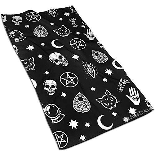 JULOE Colorido cráneo Gato Luna patrón gótico Toallas de Cocina Toallas de Microfibra de Felpa para secar Platos Toalla de Plato