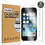 Owbb [2 Pack] Pellicola Vetro Temperato per Apple iPhone 5 5S 5G, Glass Screen Pellicola Protettiva 9H Durezza 99% Alta Trasparente 0.26mm 3D Touch Compatibile per iPhone 5 5S 5G
