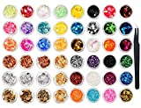 Kissmi - Juego de 48 chips de uñas con purpurina...