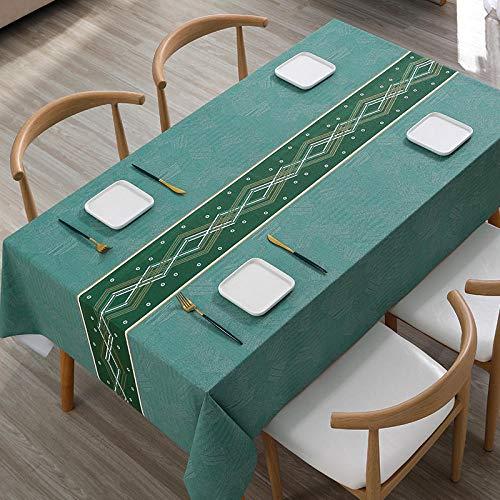 Kuingbhn Rectangular Mantel de Lavable Estilo Moderno Resistente Al Desgaste y Duradero Tamaño Seleccionable de Cocina Salón Verde Claro 90×140cm