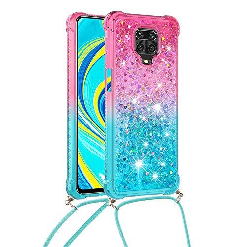 6City8Ni Liquid Flessibile per Xiaomi Redmi Note 9 PRO,Girls Colore Colorful Star Diamond Sparkle Bling Glitter Ring Holder Bag Custodia Cover Sottile Silicone Gel Elastic TPU Rubber Bumper