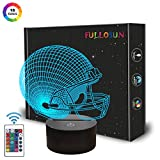 Football Helmet Gift, Football Sport Night Light for Boys, 3D Illusion Glow Light Lamp for Room Decoration with 16 Colors + Remote Control + Dim Function