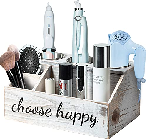 Hair Dryer Holder, Hair Tools Organizer, Blow Dryer Holder, Curling Iron Holder, Flat Iron Holder, Wooden Hair Accessories Product Styling Tools Dryer Organizer Storage for Bathroom Countertop (White)