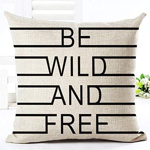 YLLAND Funda de almohada almohadas de estilo blanco y negro almohadas decorativas estilo palabra simple impreso tiro coche decoración hogar cojín LNNDE