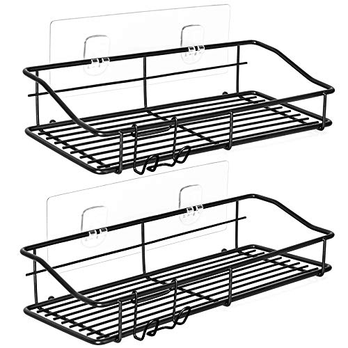 Nieifi Shower Caddy Shelf with Hooks Storage Rack Organizer Adhesive Stainless Steel without Drilling for Bathroom Lavatory Washroom Restroom Shower Toilet Kitchen  2 Pack Black