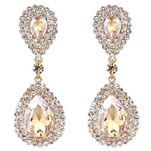 Clearine Damen Modern Hochzeit Braut Kristall Tropfen Beaded Dangle Statement Ohrringe Gold-Ton