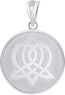 Exquisite 925 Sterling Silver Round Sisterhood Celtic Knot Disc Pendant