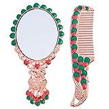 Minkissy 2 Piezas Espejo de Maquillaje Y Kit de Peine Vintage Peacock Espejo de Tocador Portátil de Mano Pequeño Espejo de Viaje de Encimera para Exterior Barbería Baño Plateado