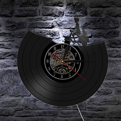 Transporte Wall Art Scooter Reloj de pared Vintage Motocicleta Vinilo Record Reloj de pared Moto Decoración del hogar Biker Drivers Regalo Luces LED