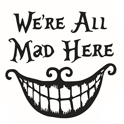 ACAMPTAR We're All Mad Here Mural Pegatina de Pared de Halloween Ingles Decoracion de casa para el Dormitorio 68 * 70cm