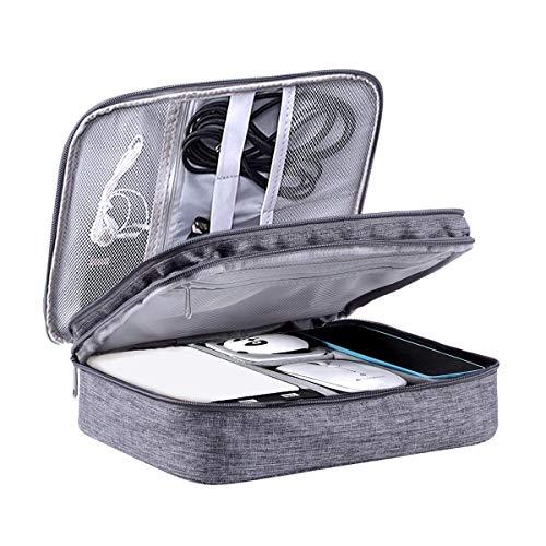 LIVACASA Organizzatore Cavi da Viaggio Doppio Strato Borsa Accessori Elettronici con Tasche in Rete Porta Cavi da Viaggio con Fascette Stringicavo 27x20x9CM Grigio