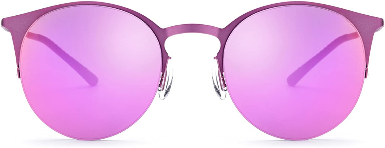 XXHDYR HalfFrame Sunglasses Driving Mirror Men's Ladies Fishing Sunglasses Women's Sunglasses (color   Pink Frame Purple Lens)