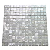 Art3d Oyster Mother of Pearl Square Shell Mosaic Tile for Kitchen Backsplashes, Bathroom Walls, Spas, Pools 12' X 12' Pack of 6