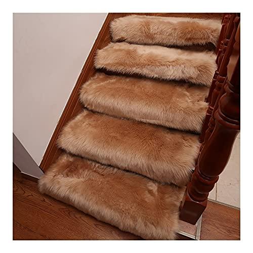 Pisadas de escaleras de lana sintética, alfombra de escalera suave, escaleras autoadhesivas alfombrillas de esteras, protección de protección contra escaleras antideslizantes, corredores de alfombras