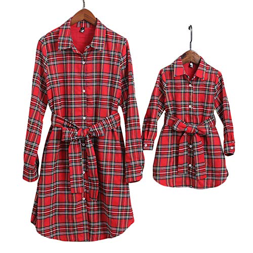 PopReal Mommy and Me Outfits Plaid Christmas Self-Tie Long Sleeve T-Shirt Dress Family Matching Clothes